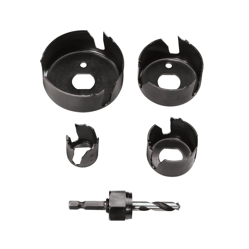Vermont American Carbon Hole Saw Set with Mandrel for Drilling Wood,