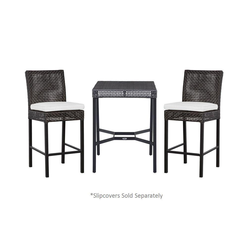Hampton Bay Fenton 3-Piece Patio High Bistro Set with Cushion Insert (Slipcovers Sold Separately)