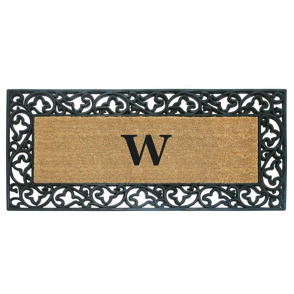 Acanthus Border 24 in. x 57 in. Rubber Coir Monogrammed W
