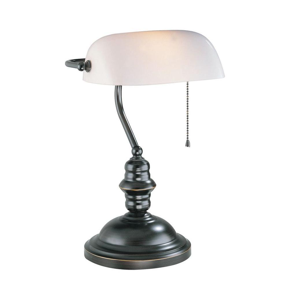Illumine Designer Collection 14.5 in. Bronze Desk Lamp with Frost Glass Shade