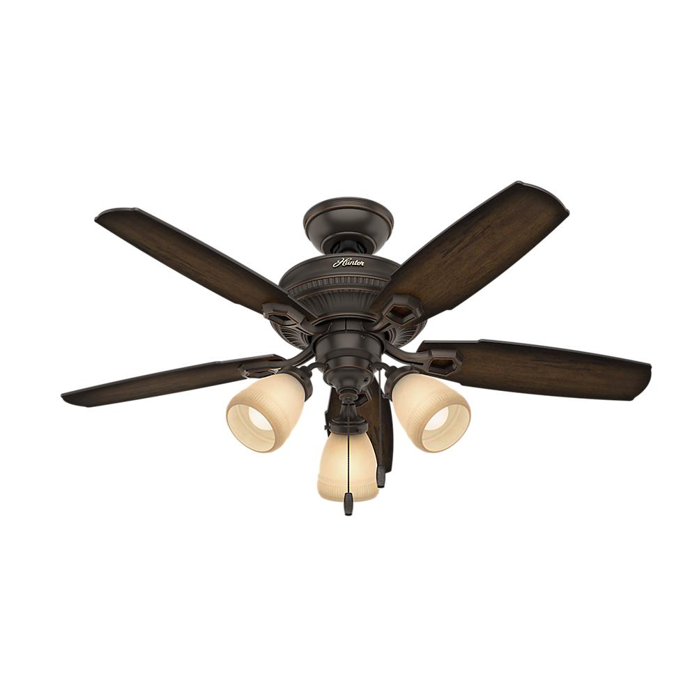 Hunter Ambrose 44 in. Indoor Onyx Bengal Three Light Ceiling Fan-52233