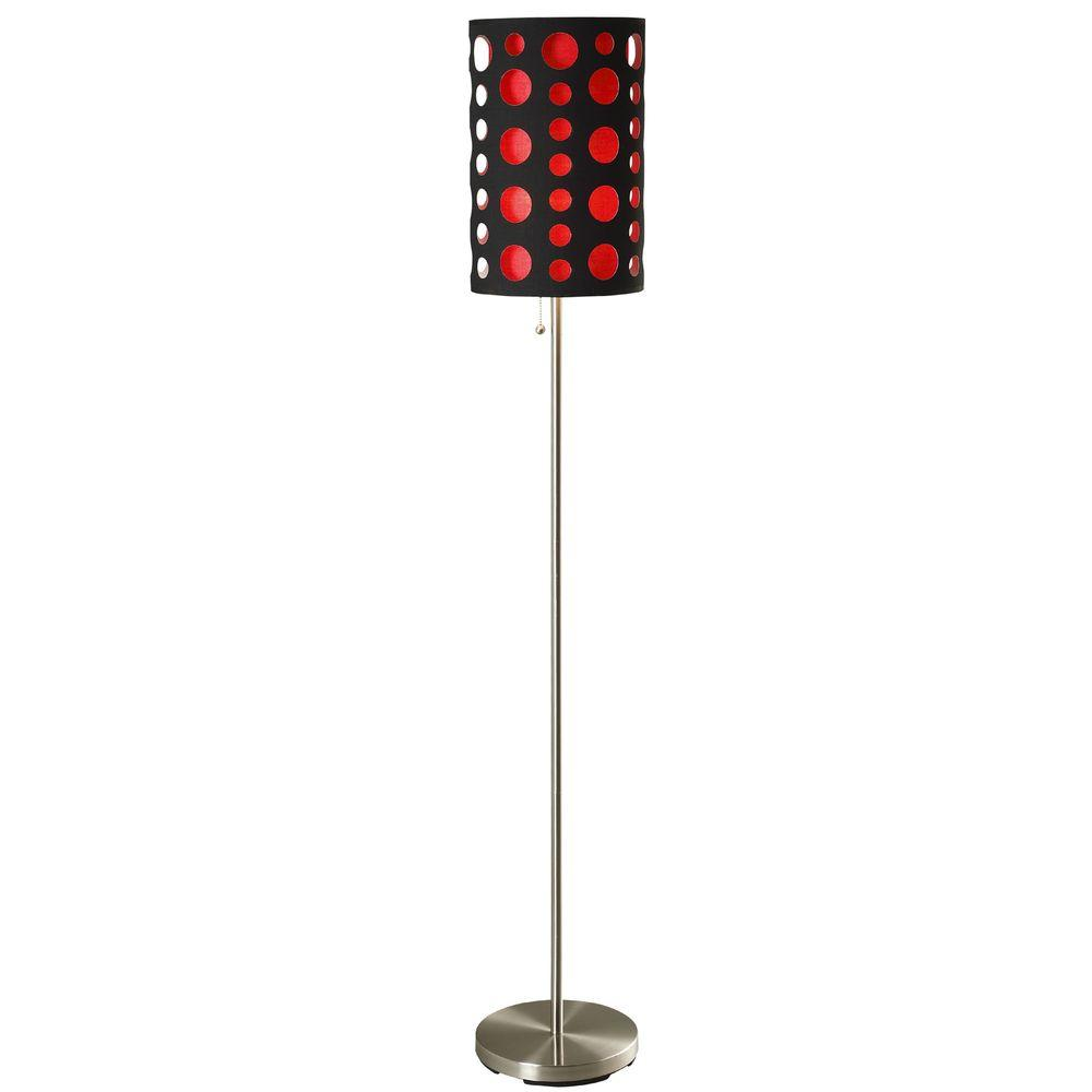 66 in. High Black and Red Stainless Steel Modern Retro Floor