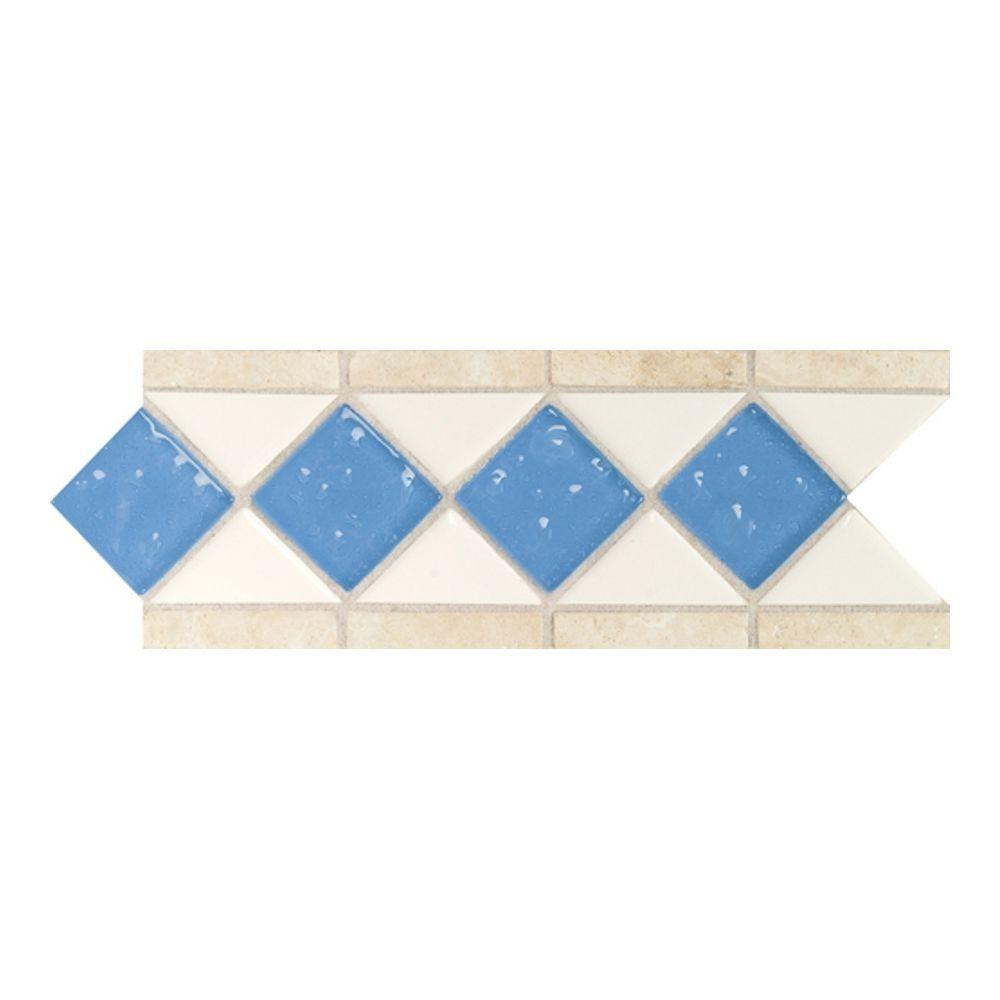 Daltile Fashion Accents Arctic White/Lagoon 4 in. x 11 in. Stone and Glass Decorative Wall Tile