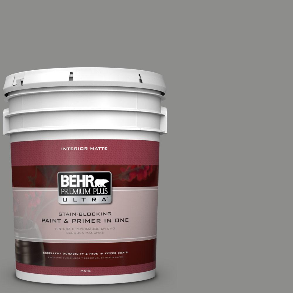 5 gal. #PPU24-20 Letter Gray Matte Interior Paint