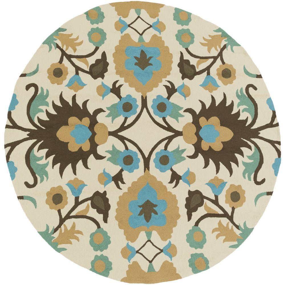 Williamson Teal (Blue) 8 ft. x 8 ft. Round Indoor/Outdoor Area Rug