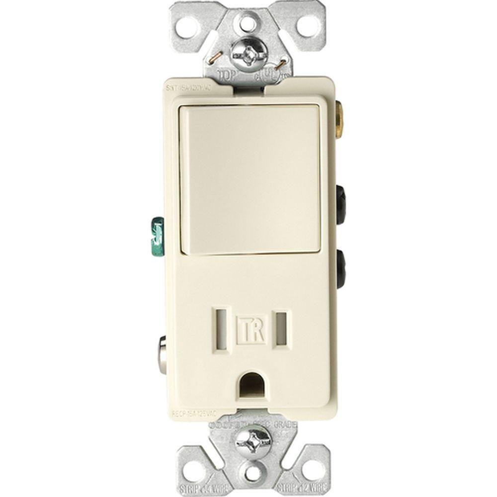 Eaton 15 Amp Tamper Resistant Decorator Combination Single Pole and Double Pole Receptacle, Light Almond
