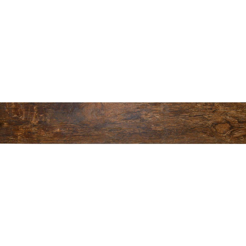 Redwood Mahogany 6 in. x 24 in. Glazed Porcelain Floor and