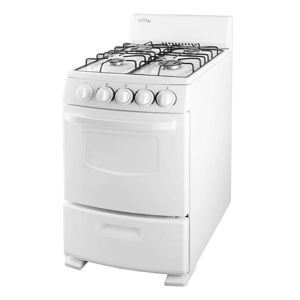 Summit Appliance 20 in. 2.62 cu. ft. Gas Range in White-DISCONTINUED
