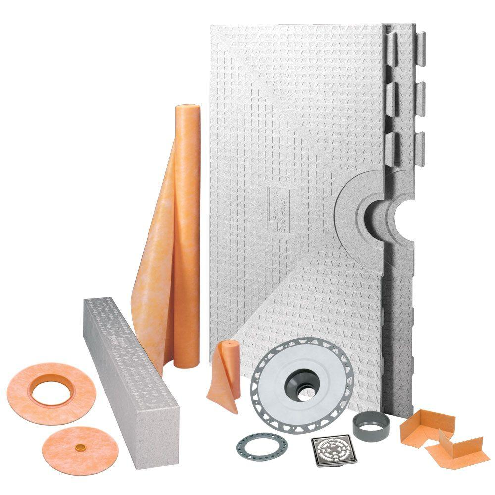 Schluter Kerdi-Shower 48 in. x 48 in. Shower Kit in PVC with Stainless Steel Drain Grate