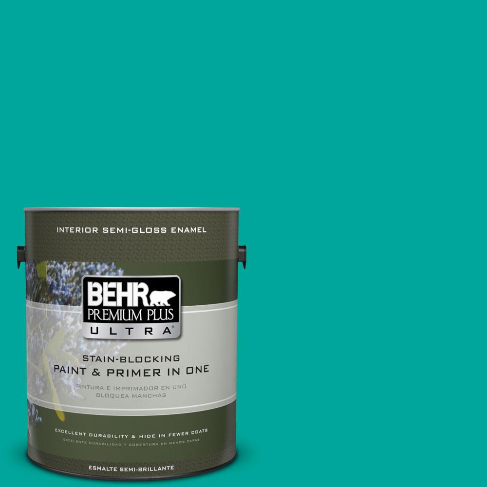 BEHR Premium Plus Ultra Home Decorators Collection 1-gal. #HDC-MD-22 Tropical Sea Semi-Gloss Enamel Interior Paint