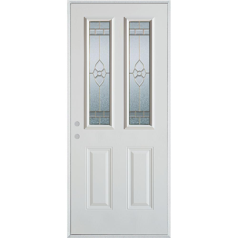 Stanley Doors 36 in. x 80 in. Traditional Zinc 2 Lite 2-Panel Prefinished White Right-Hand Inswing Steel Prehung Front Door, White/Zinc Glass Caming Finish