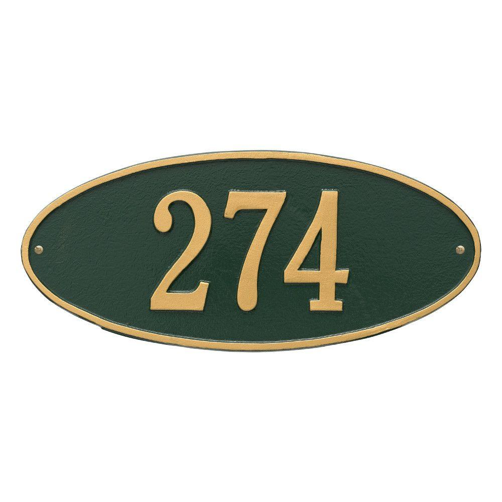 Madison Standard Oval Green/Gold Wall 1-Line Address Plaque