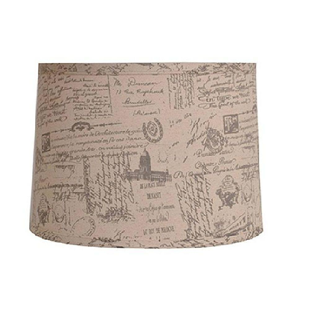Home Decorators Collection Drum 12 in. H x 18 in. W Large French Script Linen Shade