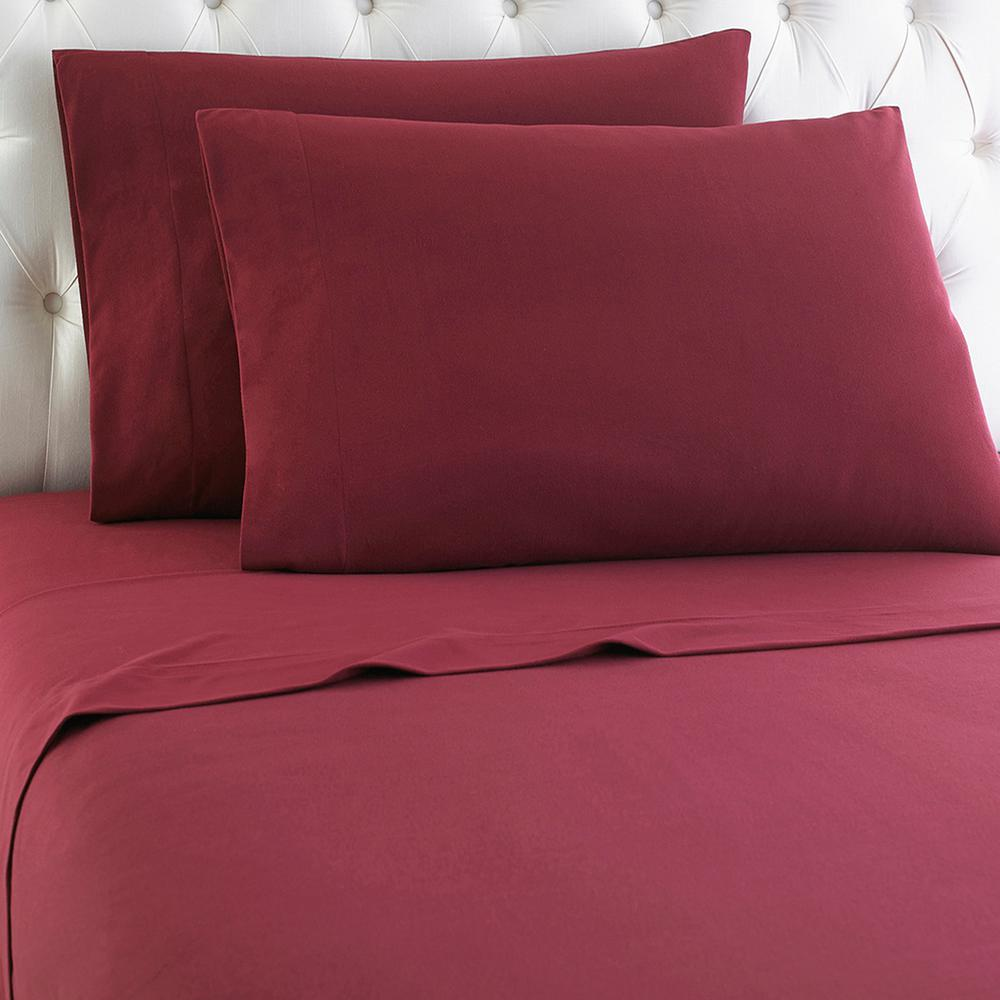 Micro Flannel California King 4-Piece Wine Sheet Set-MFNSSCKWNE - The Home