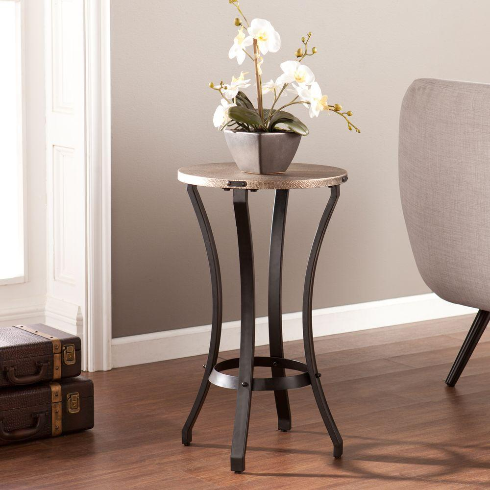 Brighton Blackwashed Gold End Table
