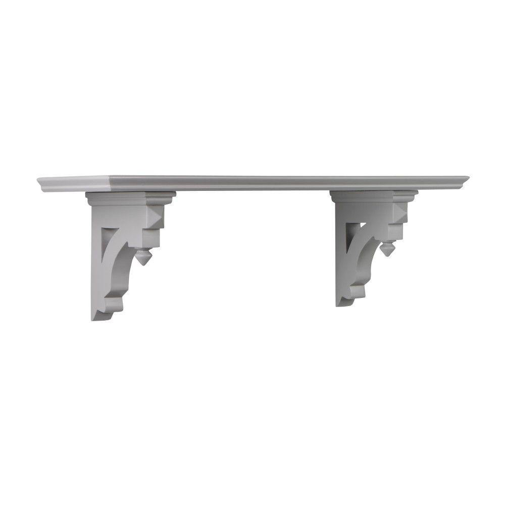Martha Stewart Living Solutions 8 in. Cement Gray Small Country Shelf-1037800270