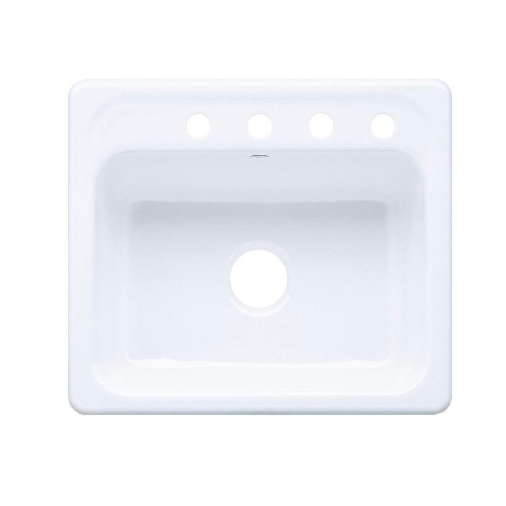 KOHLER Mayfield Top-Mount Cast-Iron 25 in. 4-Hole Single Bowl Kitchen Sink in White