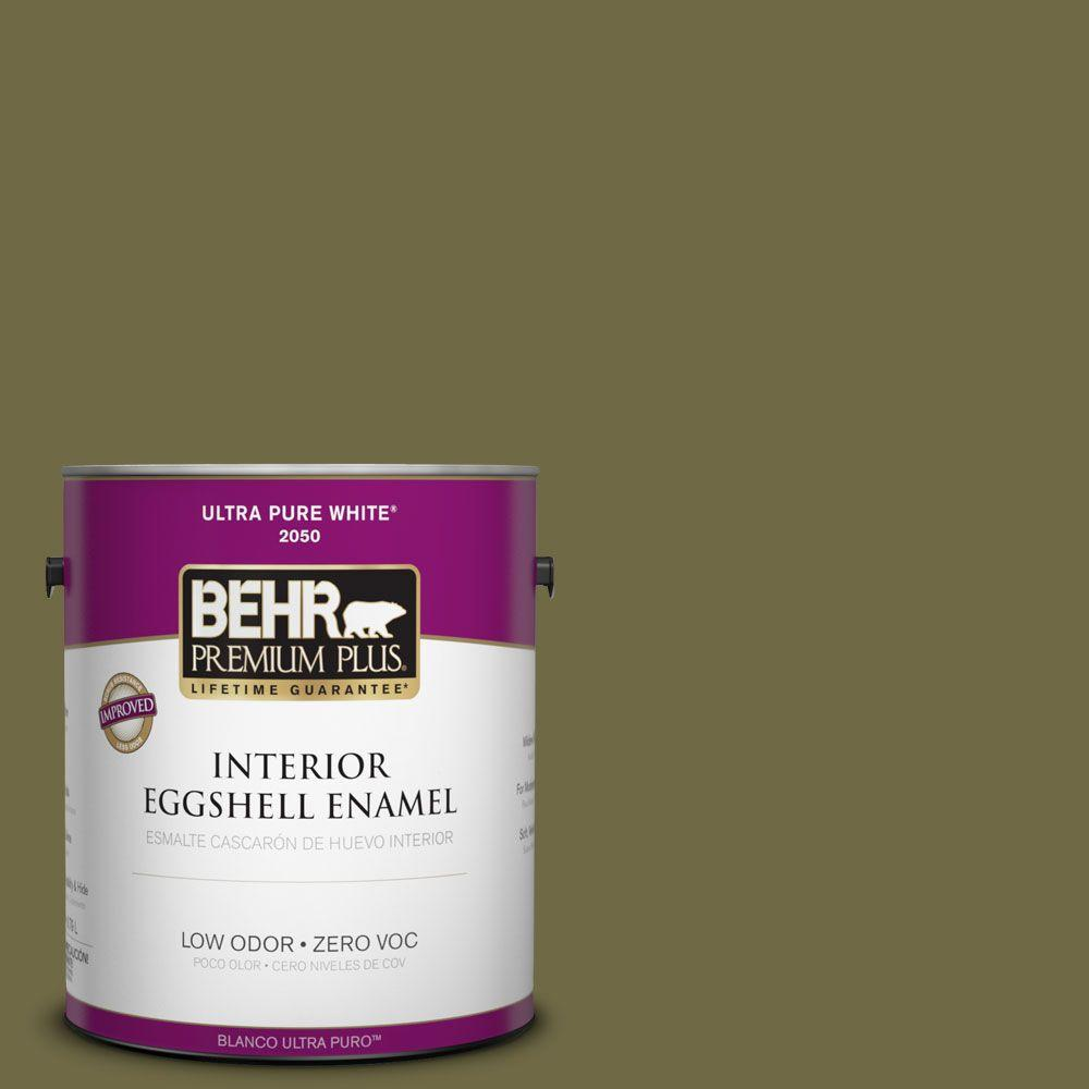 Interior Paint, Exterior Paint & Paint Samples: BEHR Premium Plus Paint 1-gal. #390F-7 Wilderness Zero VOC Eggshell Enamel Interior Paint 230001