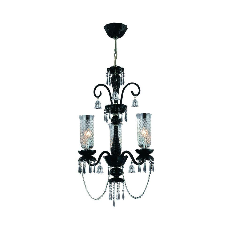 Mariah Collection 3-Light Black Hanging Chandelier