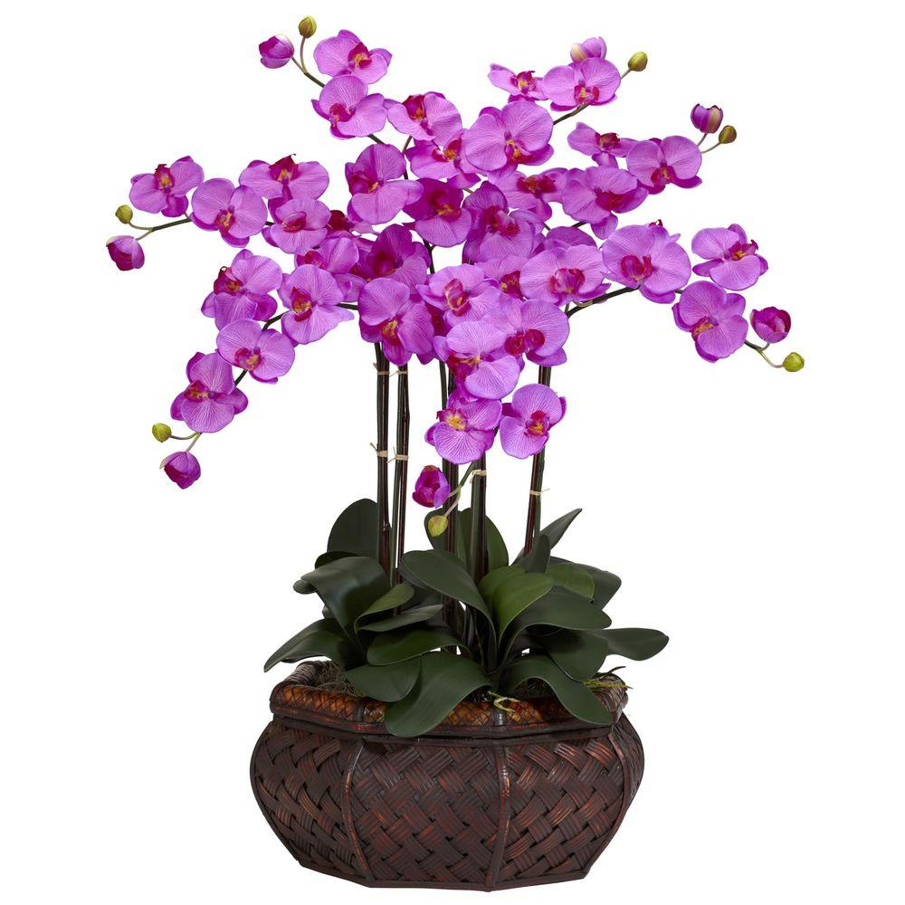 30 in. H Orchid Large Phalaenopsis Silk Flower Arrangement-1201-OR - The