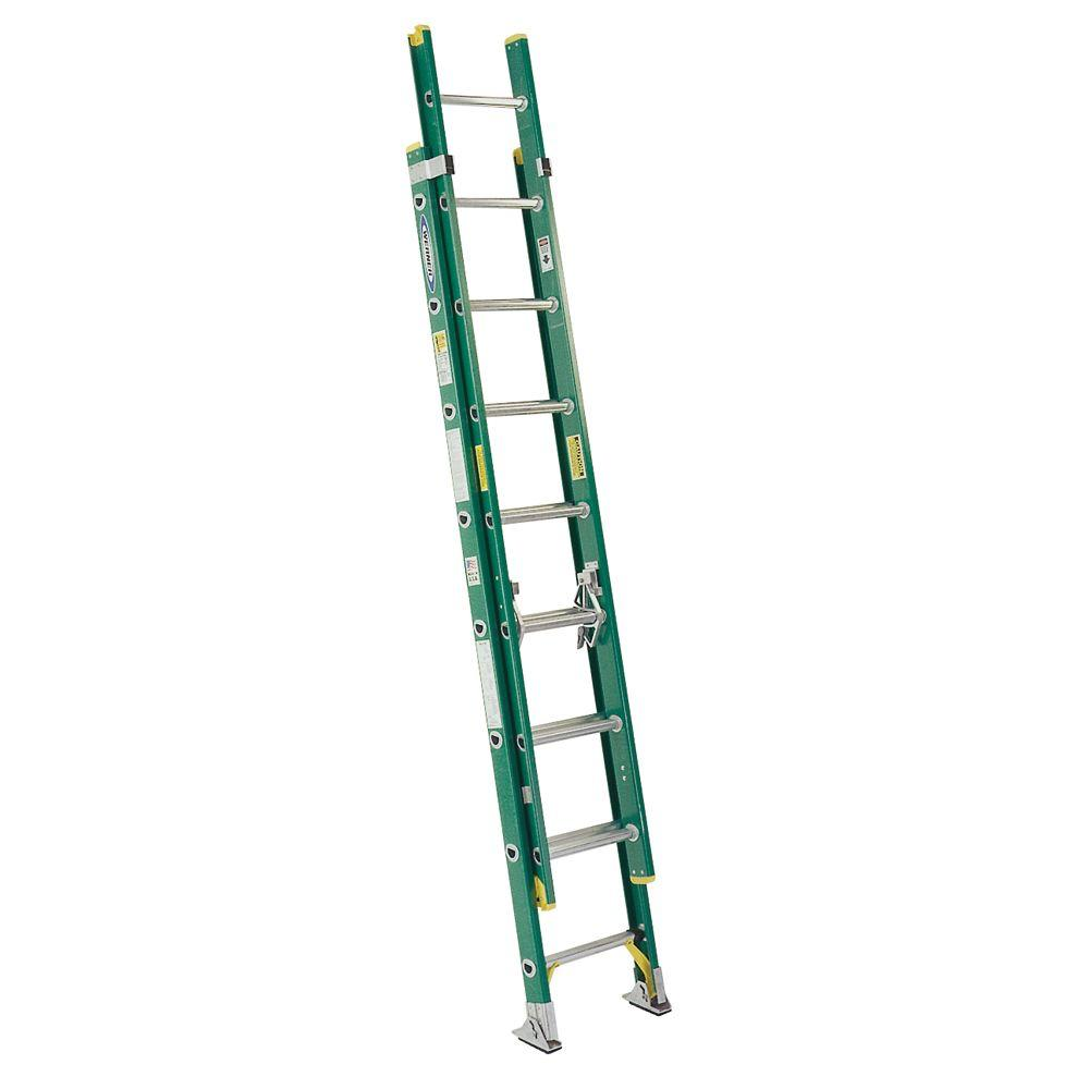 Werner 16 ft. Fiberglass D-Rung Extension Ladder with 225 lb. Load