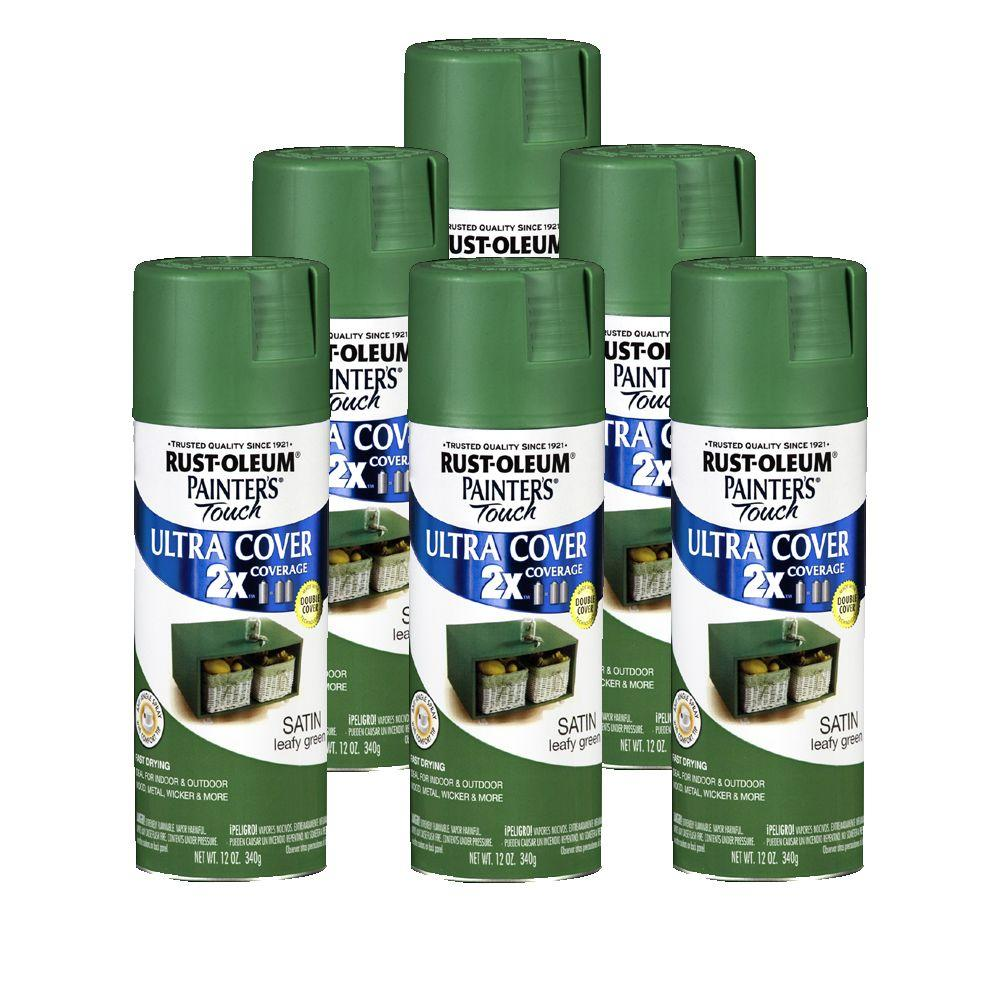 Rust-Oleum 2X Painter's Touch 12 oz. Satin Leafy Green Spray Paint (6-Pack)-DISCONITNUED-DISCONTINUED