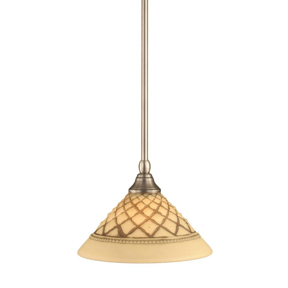 Filament Design 1-Light Brushed Nickel Pendant with Chocolate Icing Glass