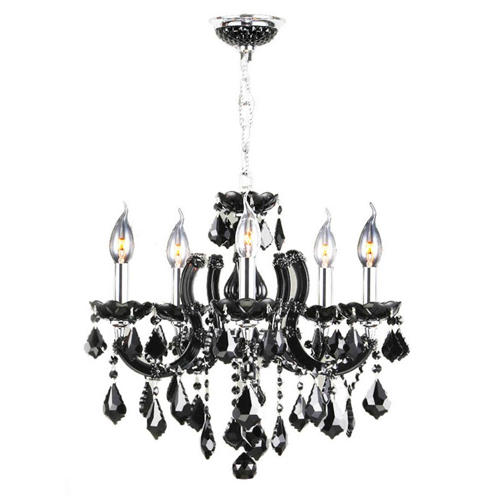 Catherine Collection 8-Light Chrome and Black Crystal Medium Chandelier