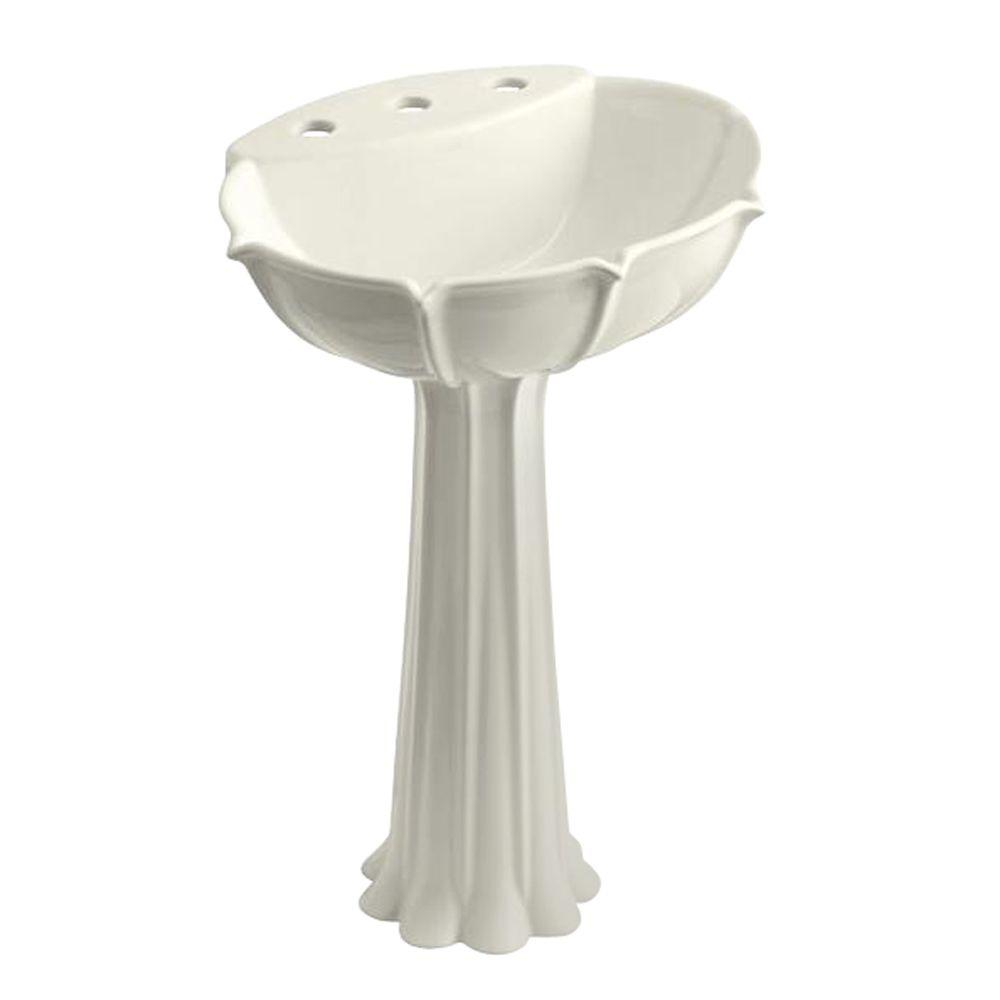 Anatole Vitreous China Pedestal Bathroom Sink Combo in Biscuit