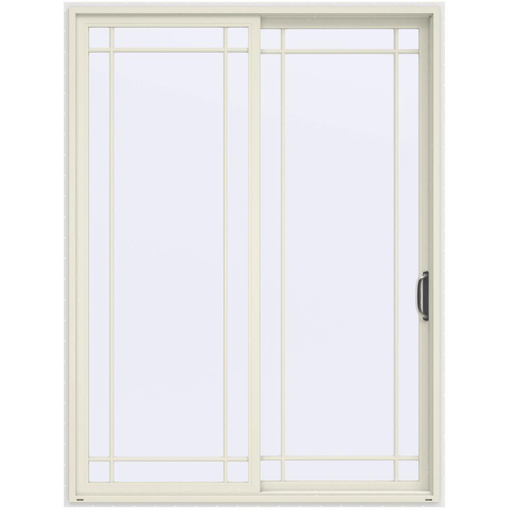 JELD-WEN 72 in. x 96 in. V-4500 French Vanilla Prehung Right-Hand Sliding 9 Lite Vinyl Patio Door with White Interior