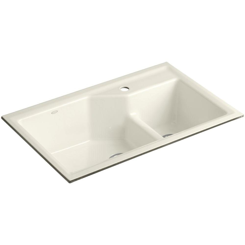 Indio Smart Divide Undermount Cast Iron 33 in. 1-Hole Double Basin