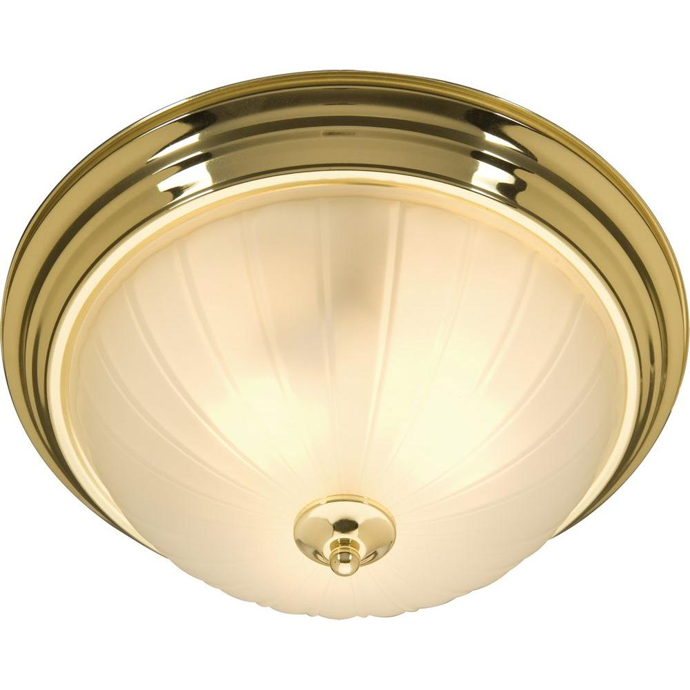 Oriax 3-Light Polished Brass Flush Mount with Frosted Glass Shade-DISCONTINUED