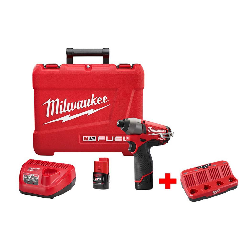 M12 FUEL 12-Volt Brushless Lithium-Ion 1/4 in. Hex Impact Driver Kit