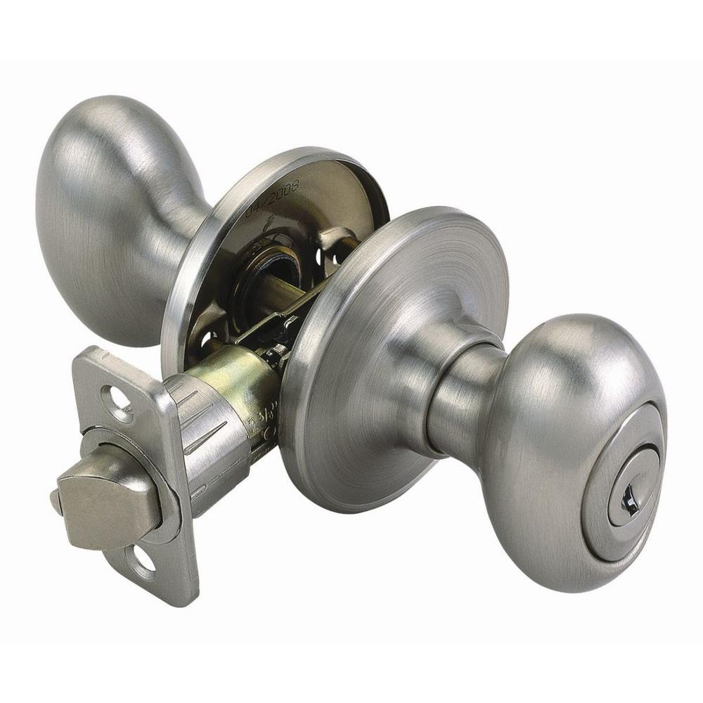 Design House Egg Satin Nickel Entry Knob with Universal 6-Way Latch-740449