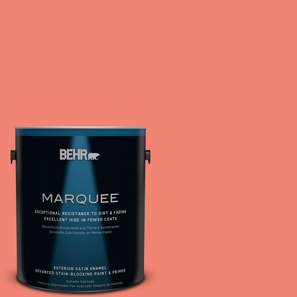 BEHR MARQUEE 5 gal. #T16-07 Coralette Satin Enamel Exterior Paint-945305 -