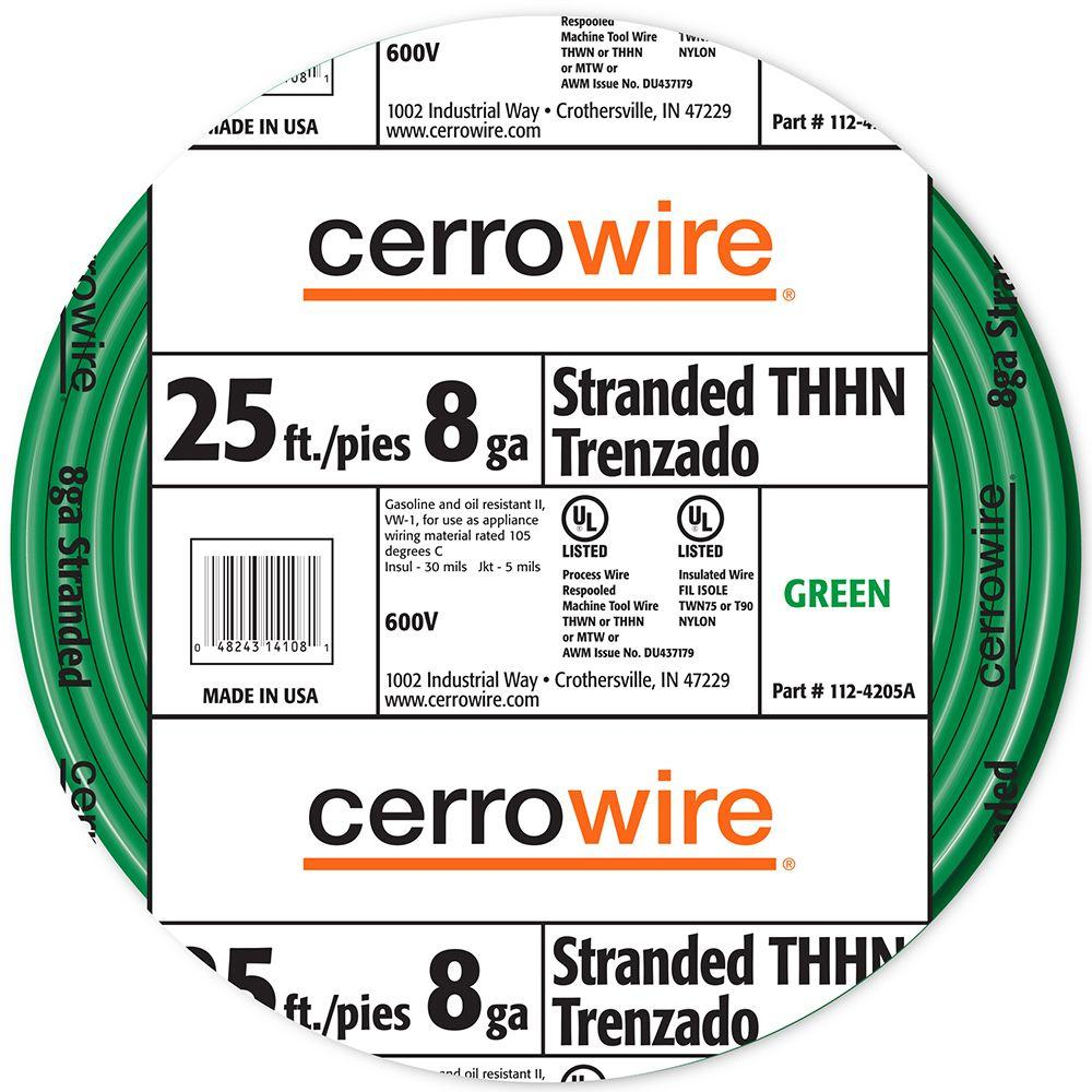 Cerrowire 25 ft. 8/1 Green Stranded THHN Wire