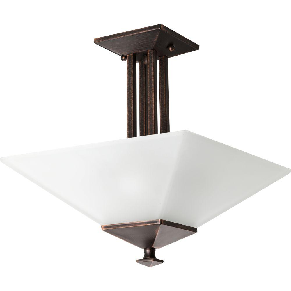 Progress Lighting North Park Collection 2-Light Venetian Bronze Semi-Flush Mount