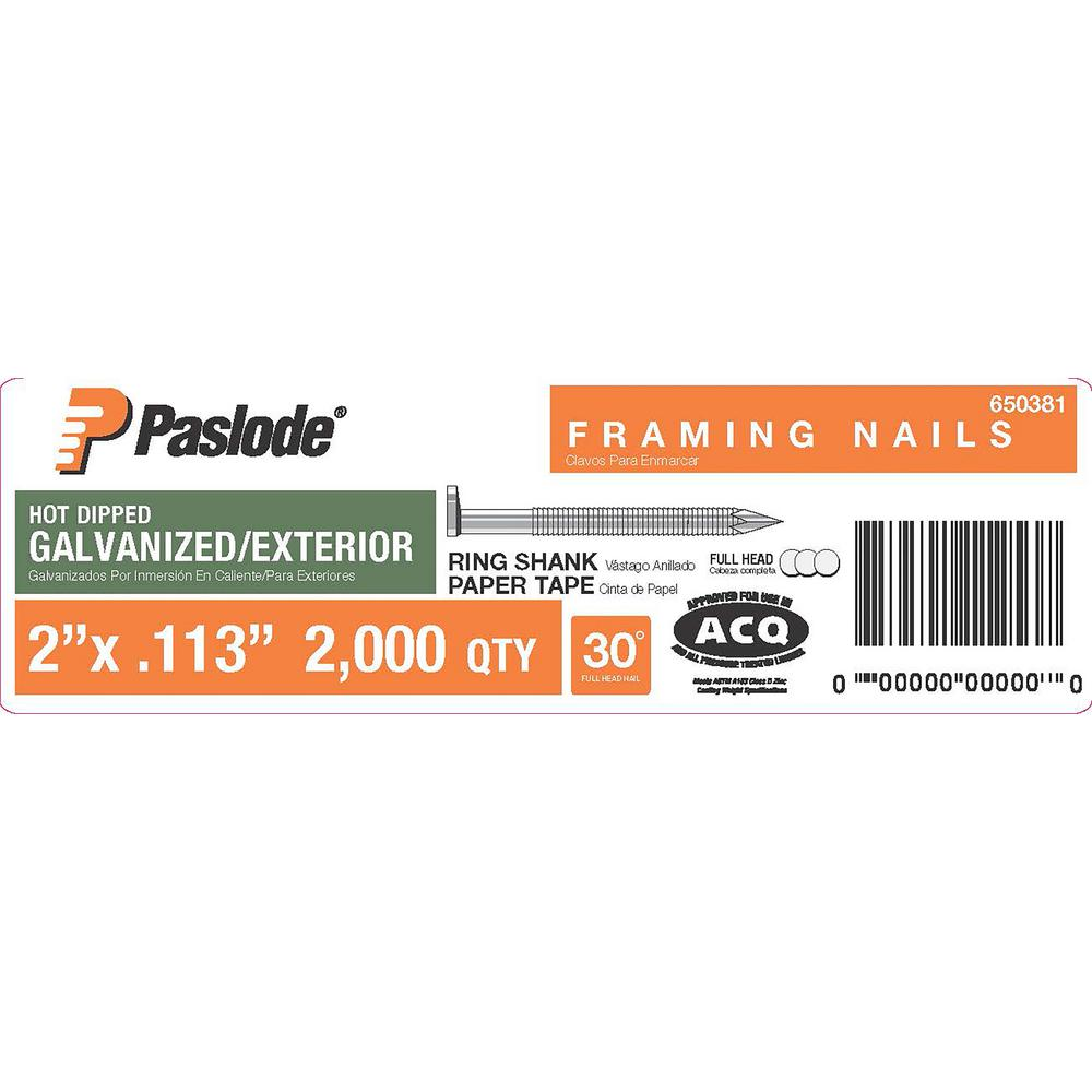 Paslode 2 in. x 0.113-Gauge 30° Galvanized Ring Shank Paper Tape Framing Nails (2,000 per Box)