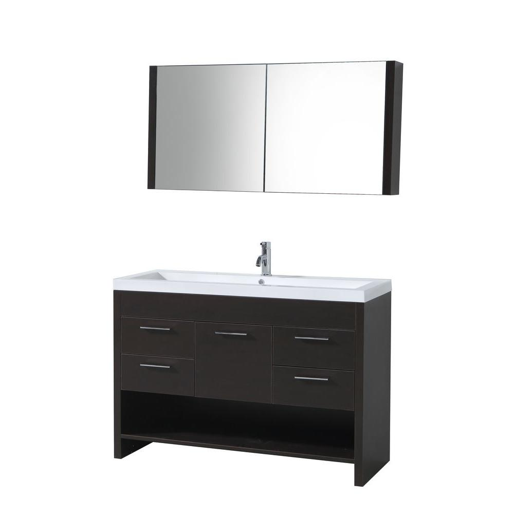 Virtu USA 47 in. Single Basin Vanity in Wenge with Poly-Marble Vanity Top in White and Medicine Cabinet Mirror-DISCONTINUED