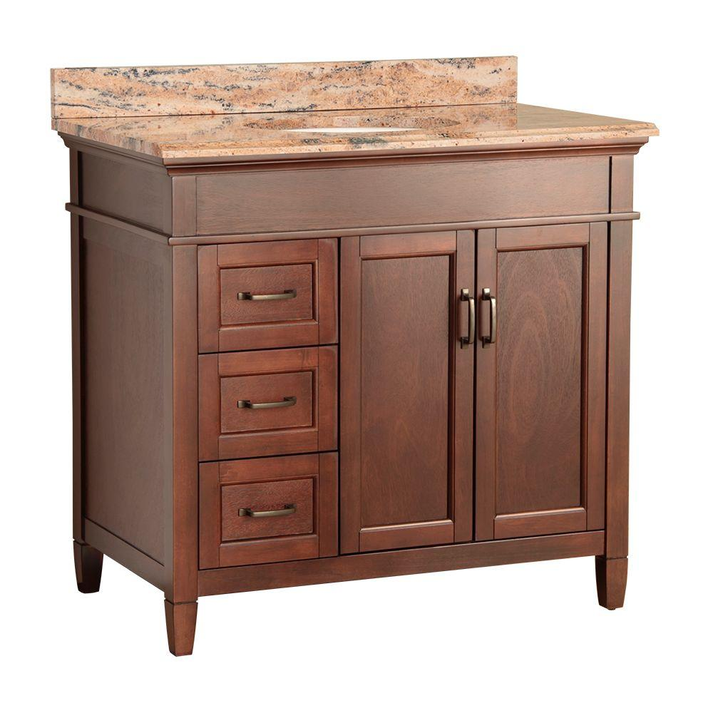 null Ashburn 37 in. W x 22 in. D Vanity in Mahogany with Vanity Top and Stone Effects in Bordeaux