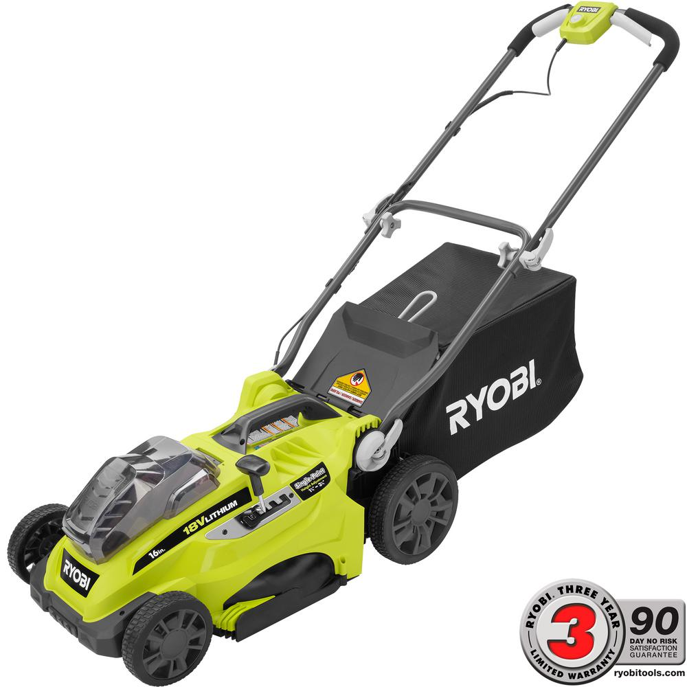 Ryobi 16 in. ONE+ 18-Volt Lithium-ion Cordless Lawn Mower with 2