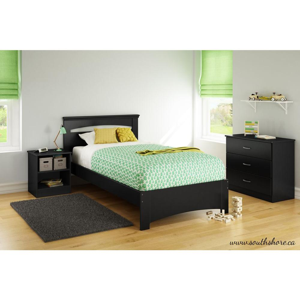 south shore libra pure black twin bed frame 3870189 the. Black Bedroom Furniture Sets. Home Design Ideas