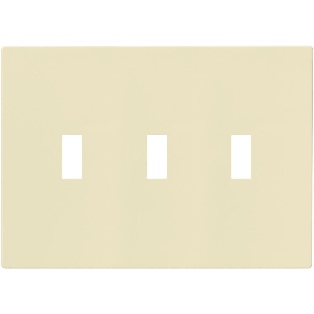 3-Gang Screwless Toggle Switch Mid-Size Wall Plate, Almond
