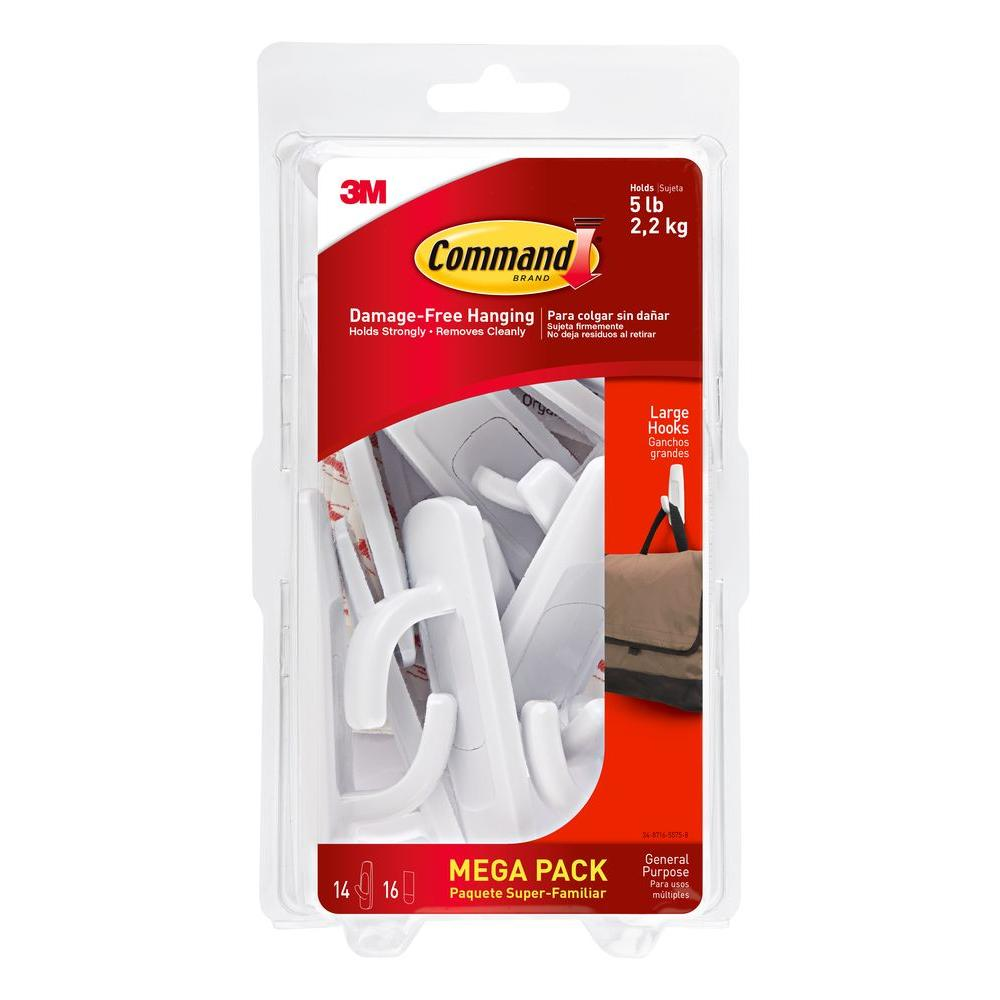 Command White Large Utility Hook (14-Hook/16-Strip per Pack)-17003-MPES - The