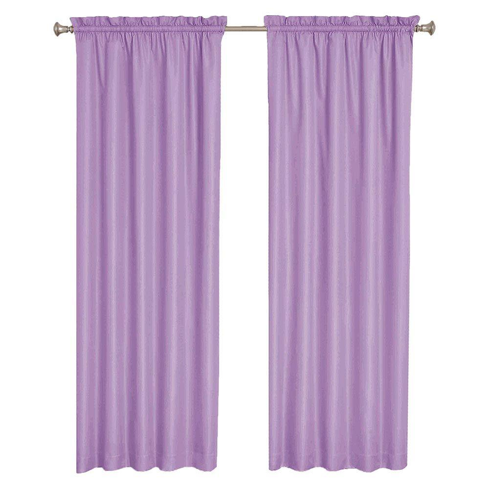 Wave Blackout Purple Curtain Panel, 63 in. Length