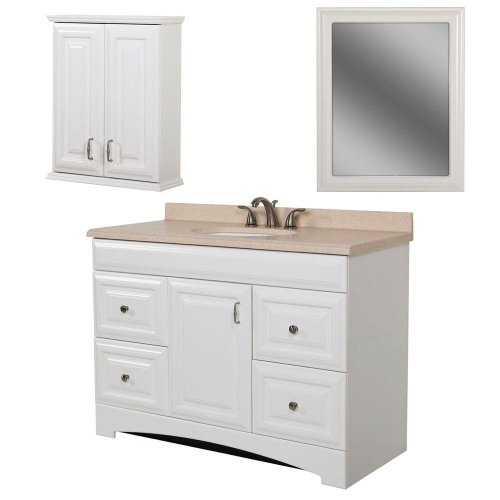 St. Paul Providence Bath Suite with 30 in. Vanity with Vanity Top OJ and Wall Mirror in White-DISCONTINUED
