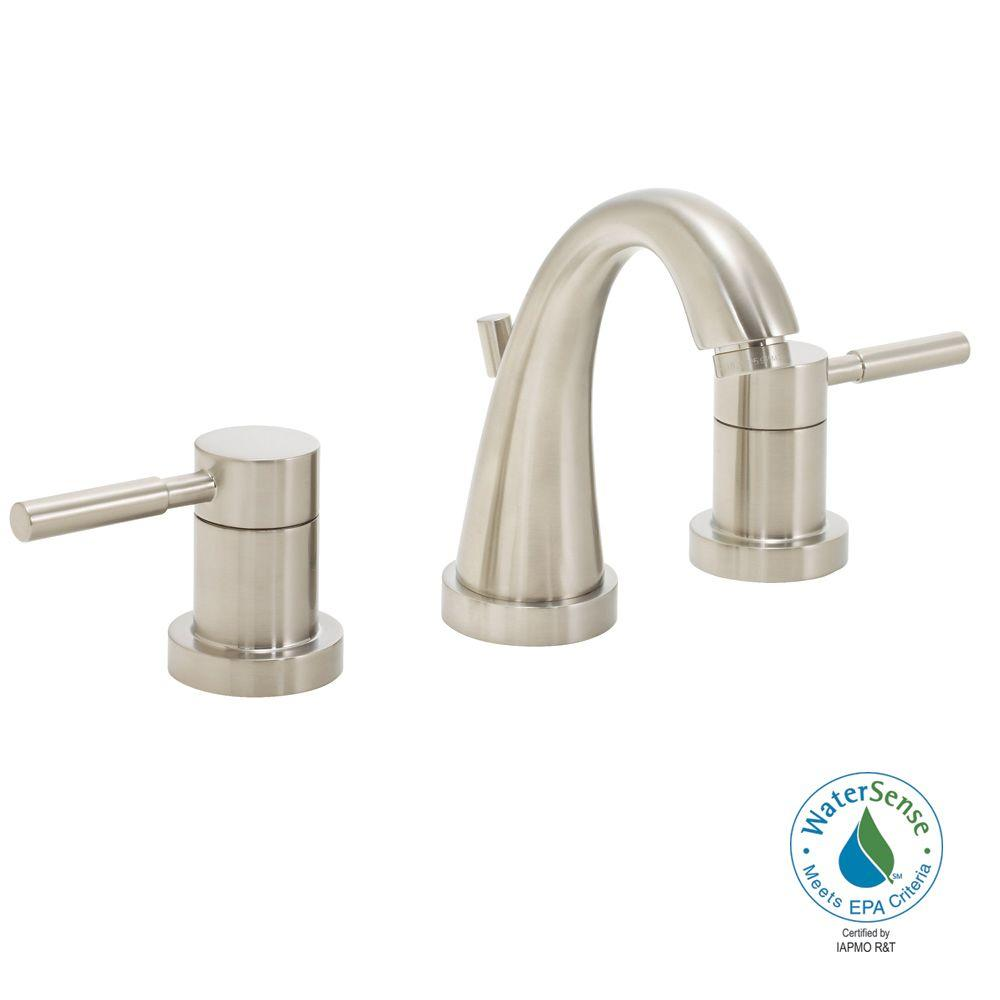 Neo 8 in. 2-Handle Bathroom Faucet in Brushed Nickel with Pop-Up Drain