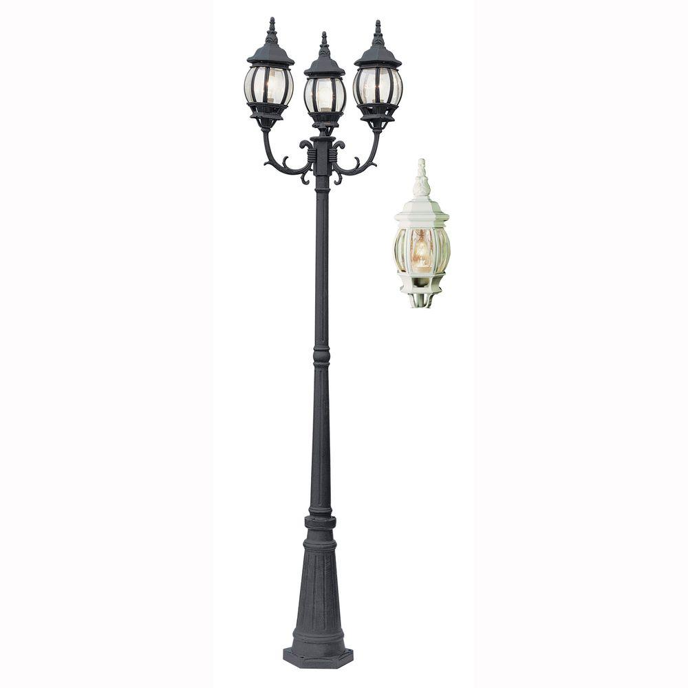 Parkway 3-Light Outdoor White Lamp Post