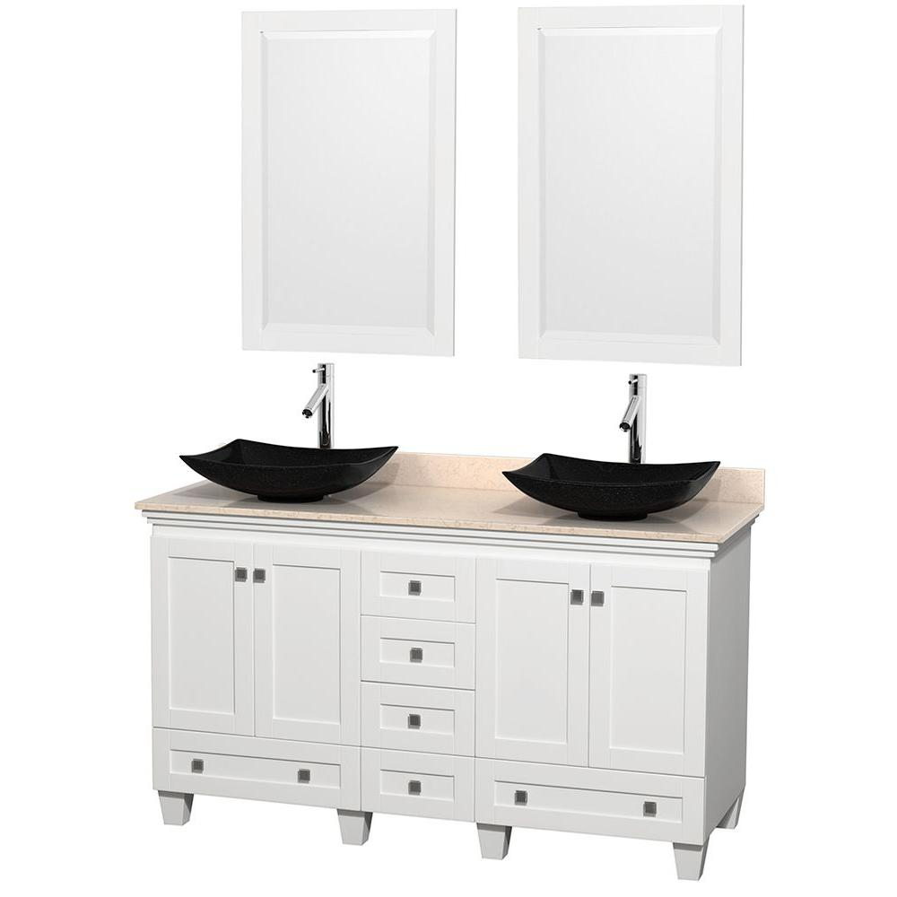 Wyndham Collection Acclaim 60 in. W Double Vanity in White with Marble Vanity Top in Ivory, Black Sinks and 2 Mirrors