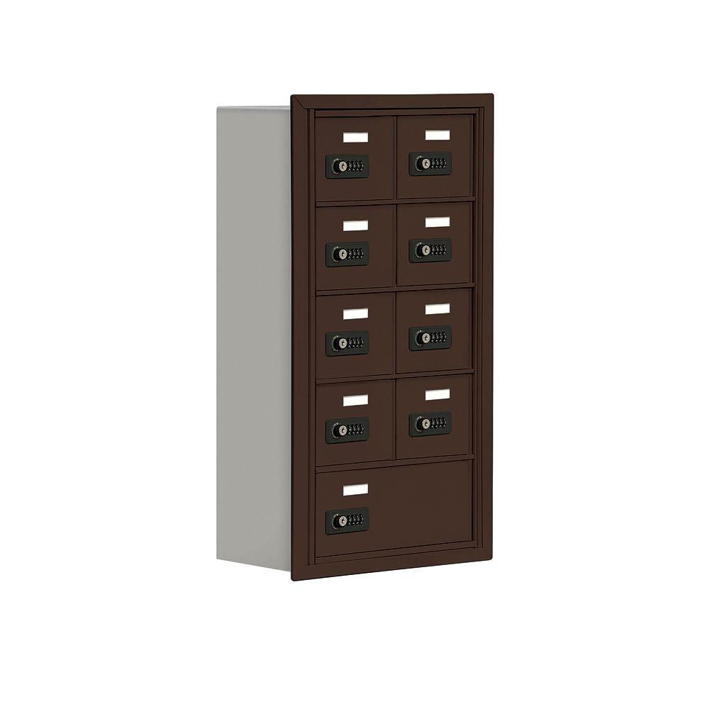 Salsbury Industries 19000 Series 17.5 in. W x 31 in. H x 8.75 in. D 8 A / 1 B Doors R-Mount Resettable Locks Cell Phone Locker in Bronze